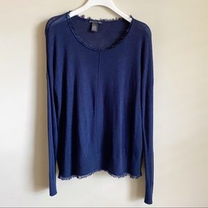 Chelsea & Theodore Raw Knit Top Blue Scope M